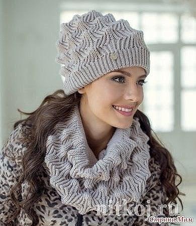 комплект шапка и снуд красивым узором вязание спицами