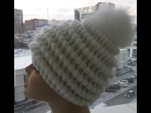 женская шапка волны вязание спицами журнал