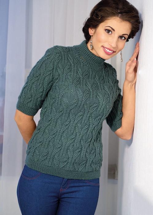 Пуловер с короткими рукавами и воротником стойкой (Вязание спицами)