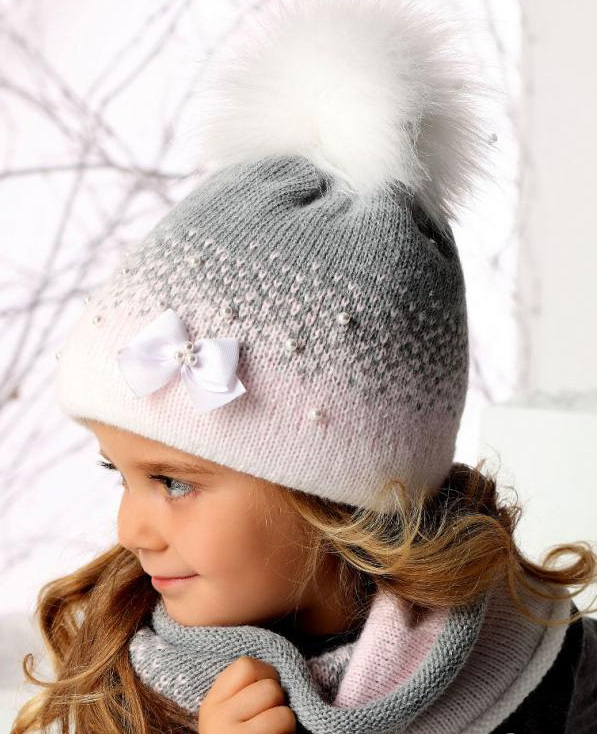 Двухцветная двойная детская шапка и снуд (Вязание спицами)