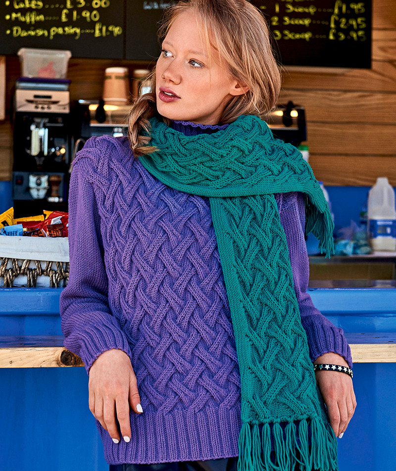 Свитер и шарф с плетеным узором (Вязание спицами)