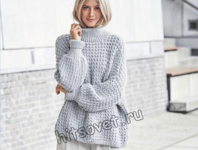 модная модель женского свитера оверсайз с пошаговым описанием
