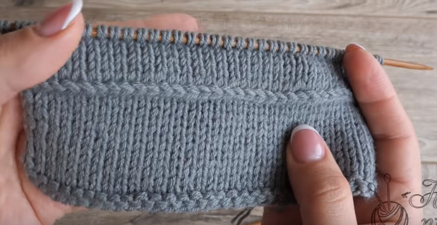 горизонтальная цепочка на лицевой глади вязание спицами