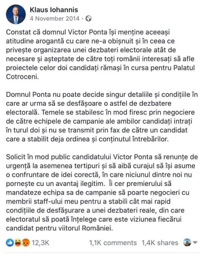 Klaus Iohannis, postare Facebook 2014