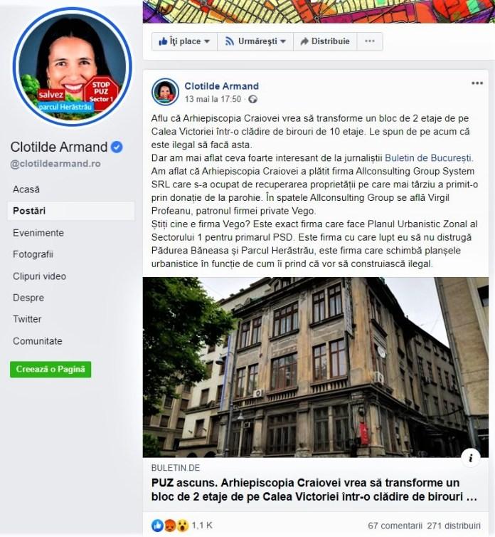 Postarea politicianului USR Clotilde Armand