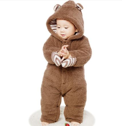 Bear Style Brown Thickened Rompers