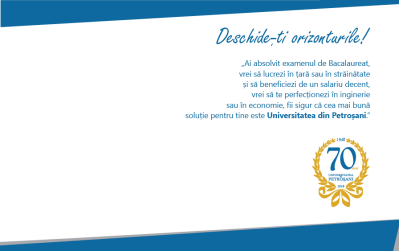 """""""Deschide-ți orizonturile!"""" Genericul sub care începe noua campanie de promovare a ofertei academice a Universității din Petroșani"""