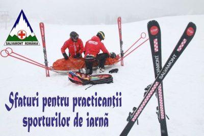 Sfaturi de la salvamontiști pentru practicanții sporturilor de iarnă, la debutul noului sezon de schi