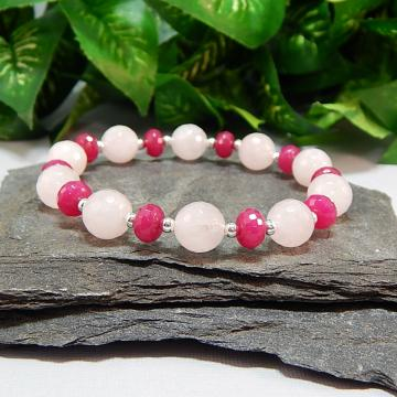 Faceted Rose Quartz and Jade Stretch Bracelet