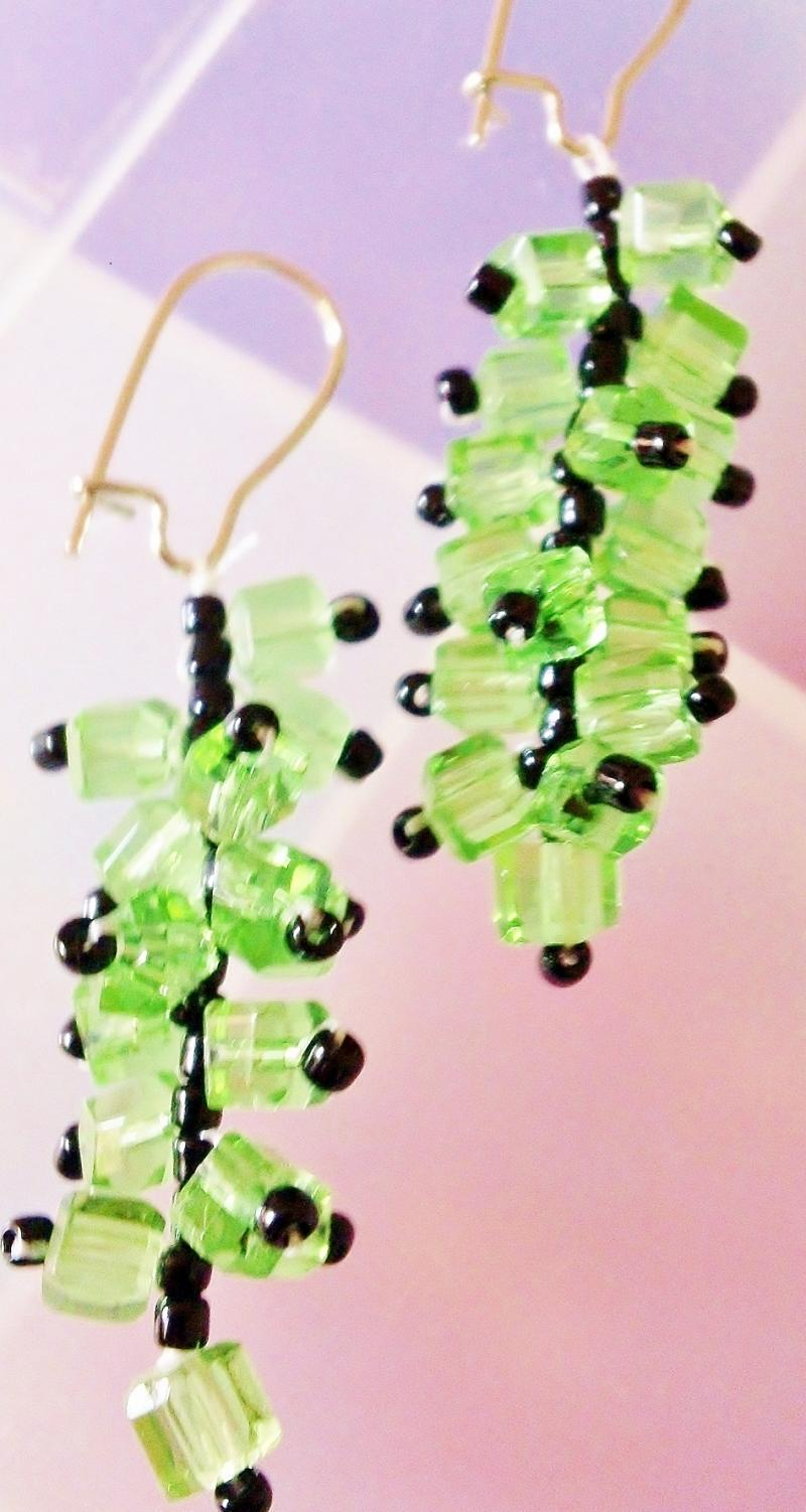 Handmade green grape bunch earrings