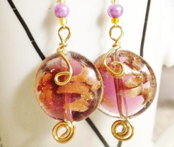 Pink wired gold toned dangle earrings
