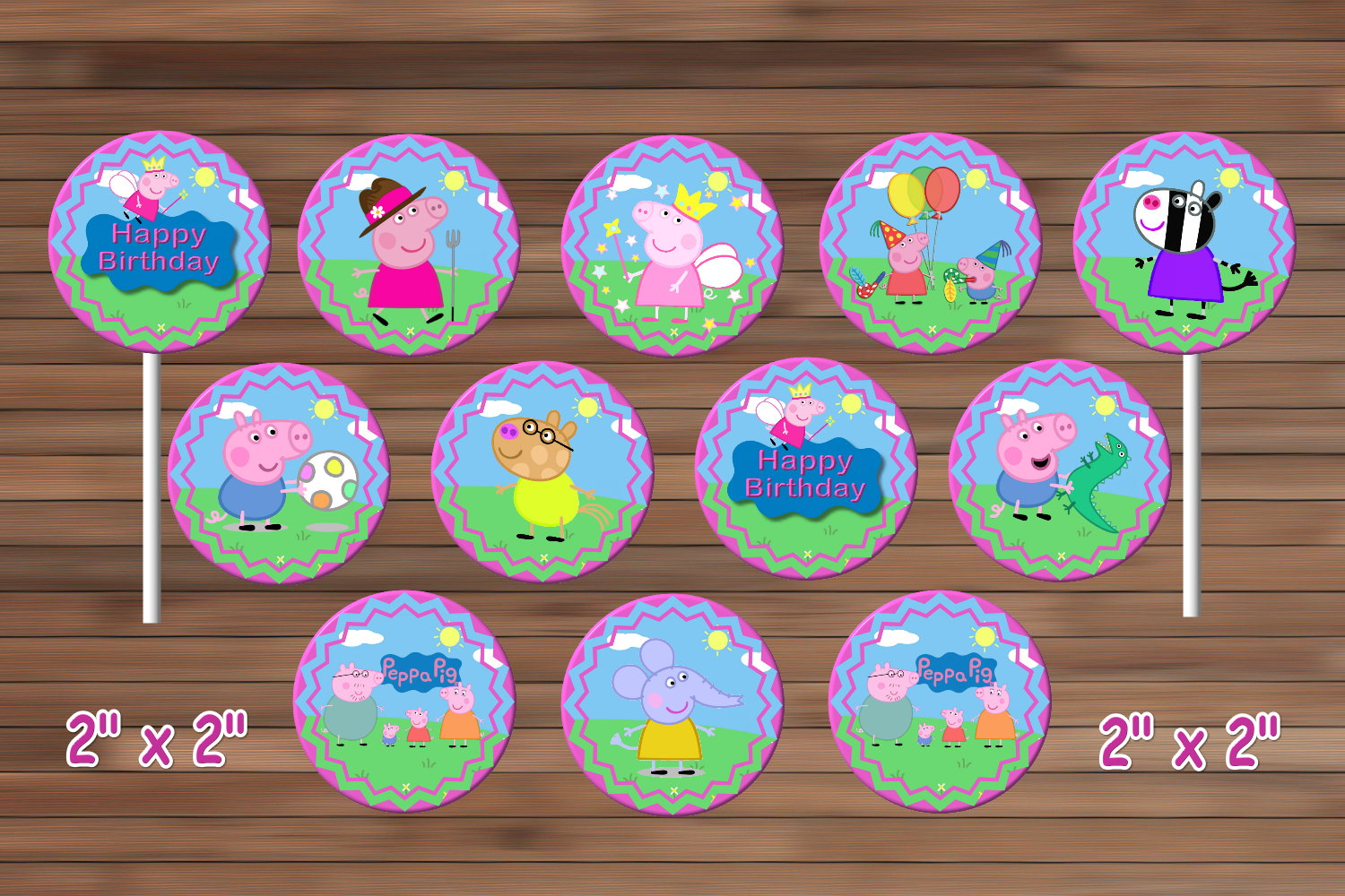 Peppa Pig Cupcake Toppers Peppa Pig Party