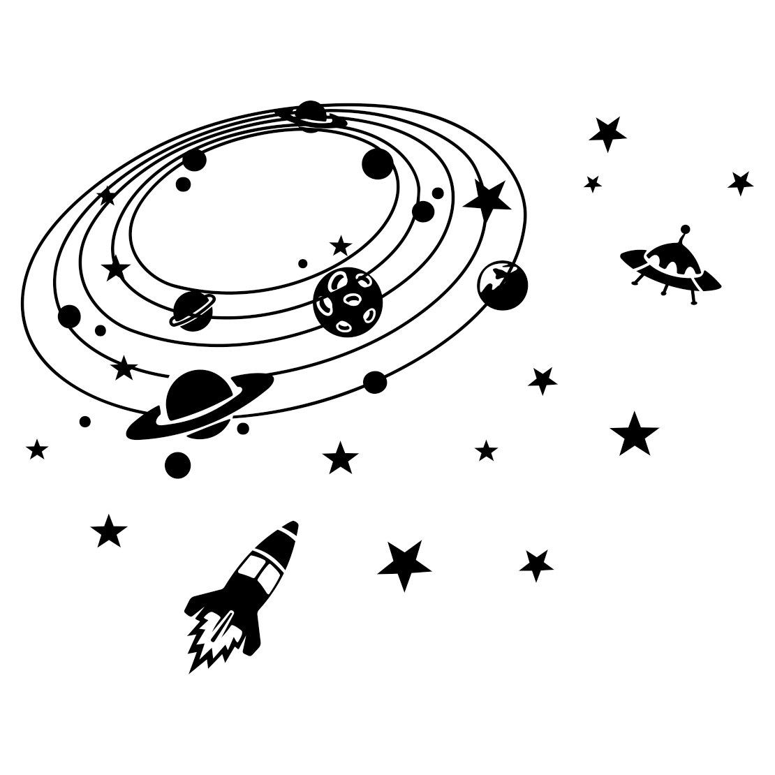 Star Sky Spacecraft Ufo Graphics Design Svg