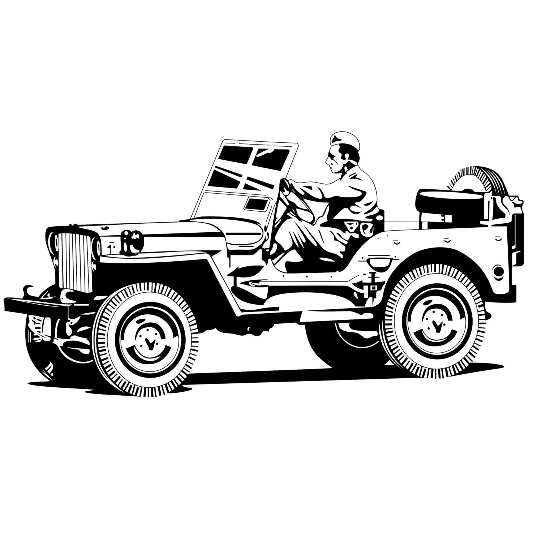 Military Jeep Battle War Graphics Design Svg