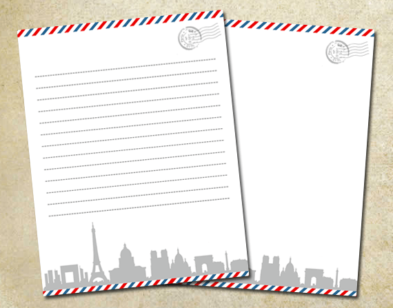 Air Mail Paris Letter Paper Pack 85 X 11 By KetrinaDesign