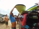 unloading for surf lesson, Puerto escondido