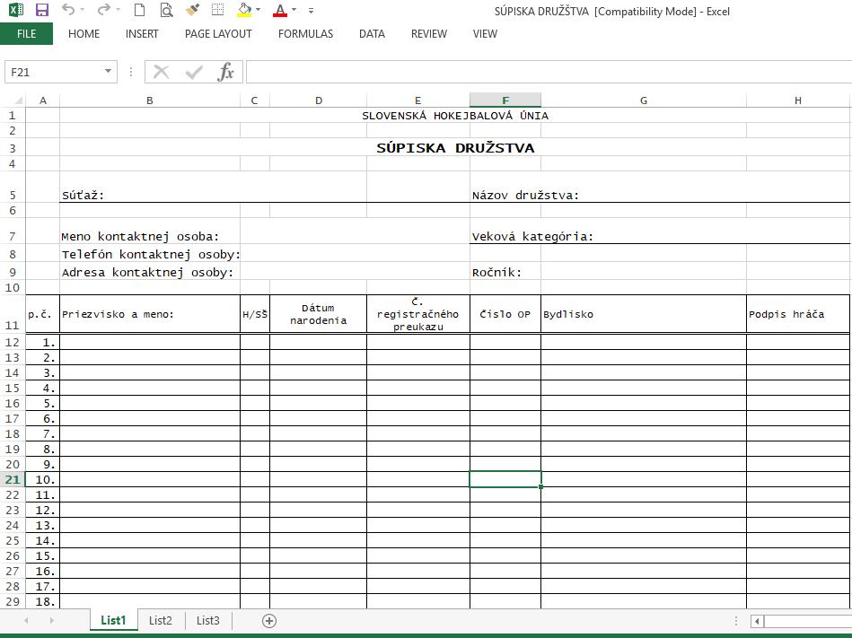 Hokejbalové dokumenty - HOKEJBAL SÚPISKA DRUŽSTVA XLS