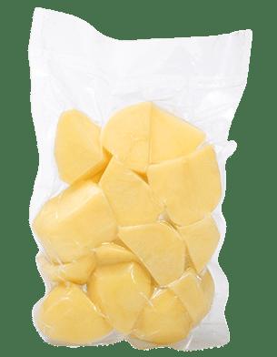 Ziemniaki obrane krojone na ćwiartki i połówki