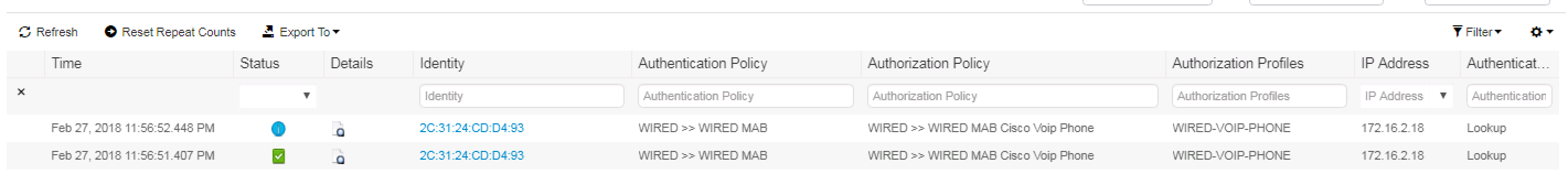 Zbise11 Cisco Ise 23 Voip Phone With Mab Auth On Wired Wiring Diagram Just Like We Should See Our Has Been Properly Authenticated And Is Hitting The Proper Authorization Policy As Expected