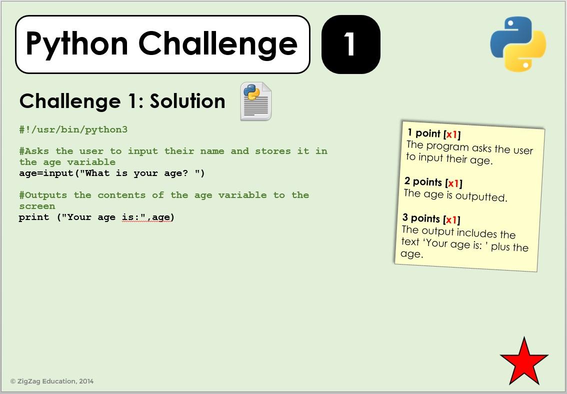 Python Challenges For Ks3 4 Zigzag Education