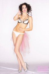 bra, necklace, stockings: stylist's own pink bustle hand made by ziicka