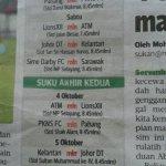 Jadual perlawanan, suku akhir pertama kedua piala malaysia 2013