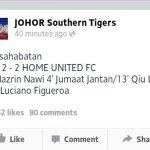 Keputusan jdt vs home united 2-2, 11 januari 2014