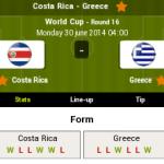 Keputusan greece vs costa rica 30.06.2014