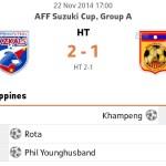 Keputusan terkini piala aff suzuki Philippines vs laos 22/11/2014
