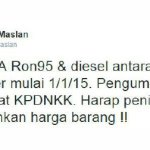 Harga minyak ron 95 turun,rm1.90 seliter 1 januari 2015!?