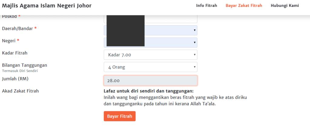 cara bayar zakat fitrah online johor 2020 part2