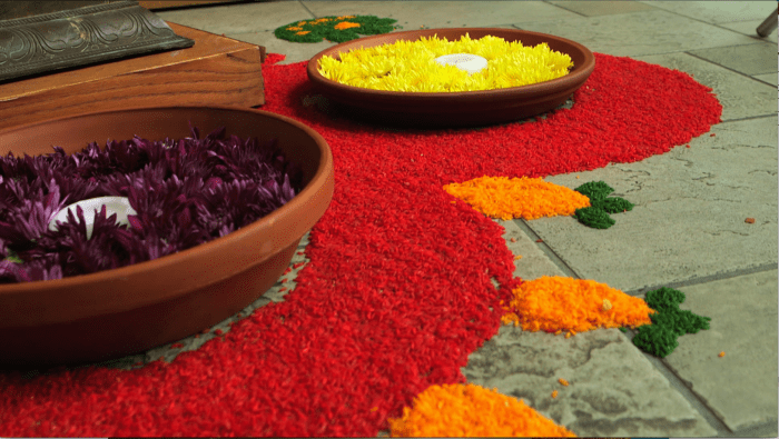 Beautiful floral displays at an Indian wedding.