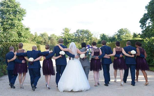 Bridal Party Walking Together