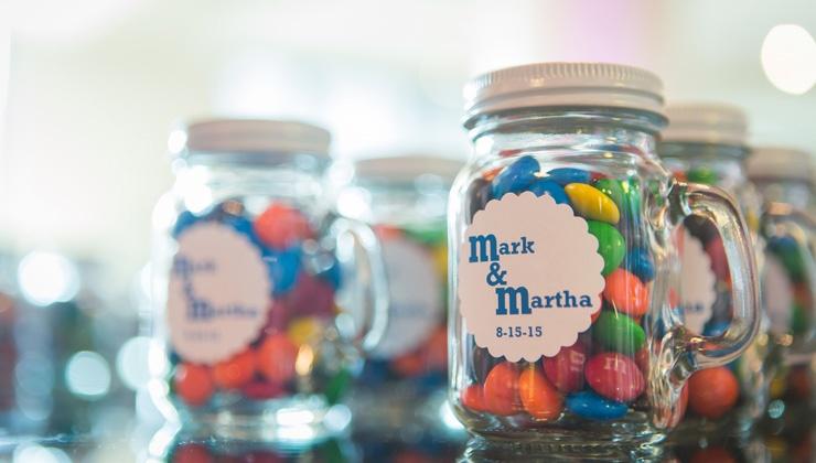 Wedding Favor: M&M Jars