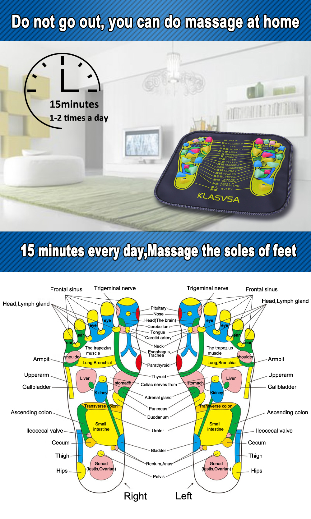 Foot Massage Walking Mat Pad Reflexology Acupressure Relaxing Diagram Pressure Muscle Pain Relieve