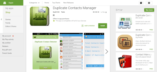 Duplicate contacts manager