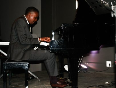DAPPER PLAYER: Jacob Thomo playing the piano as part of the Lindiwe Maxolo Quintet at The Orbit.