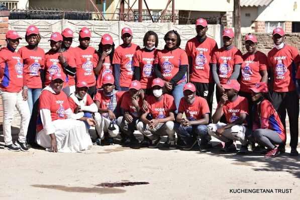 Samantha Murozoki with the Kuchengetana Trust Team
