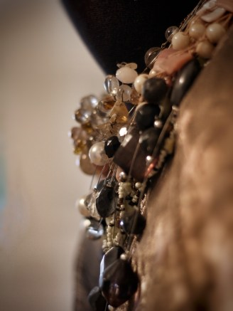 Close up; necklaces and shawl. Image: Su Leslie, 2017