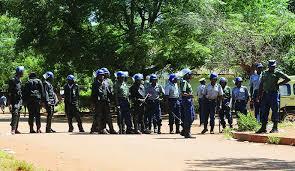 Riot police guarding classrooms