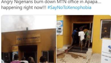 Photo of Nigerians retaliate to Xenophobic attacks by burning MTN office in Lagos and Shoprite