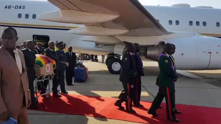 Cde Mugabe's body has landed in Harare