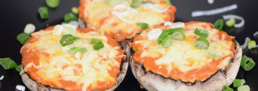 Portobello-Pizza - gefüllte Portobello Pilze - Pilze - Clean Eating - vegan - vegetarisch - glutenfrei - Rezept - Snack - Party