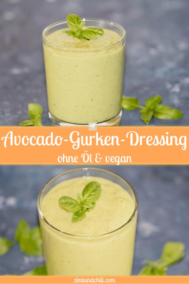 Avocado-Gurken-Dressing ohne Öl - Dressing - vegan - ohne Öl - Avocado - Gurke - Rezept - schnell - einfach - Low Carb - gesund - für Salat - cremig - Limetten - abnehmen