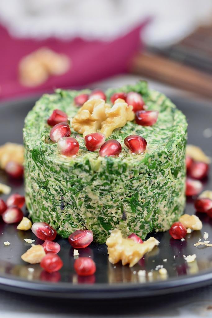 Pkhali mit Spinat - Pkhali - Spinat - Rezept - georgisch - Dip - Brotaufstrich - vegetarisch - vegan - glutenfrei - Walnüsse - Vorspeise