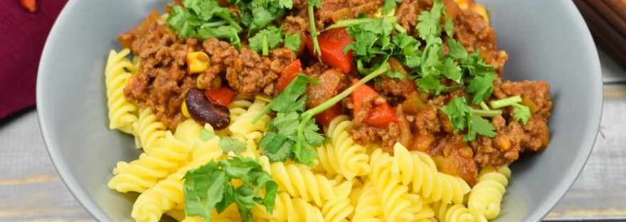 Pasta auf mexikanische Art - schnell - Rezept - Hackfleisch - mexikanisch - einfach - Nudeln - glutenfrei - Abendessen