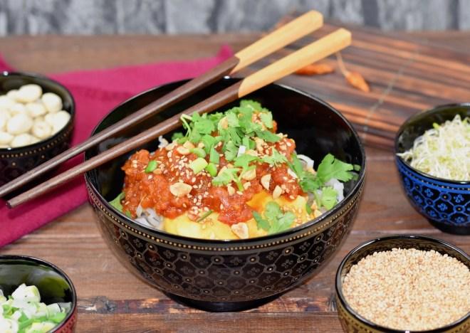 Shan-Nudeln - Rezept - glutenfrei - vegane Variante - burmesische Nudeln - asiatische Nudeln - Shan Khao Swé - Myanmar - burmesische Rezepte