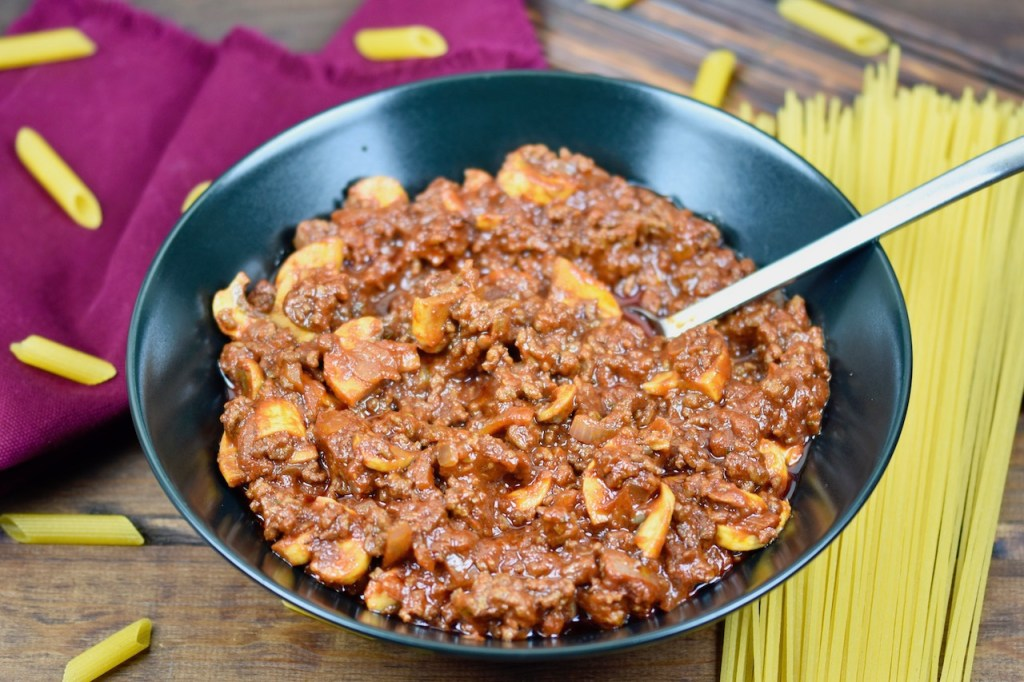 Straßburger Nudeln - Straßburger Auflauf - Rotwein - Hackfleisch - Champignons - Rezept - schnell und einfach - glutenfrei - milchfrei - Nudeln - Pasta