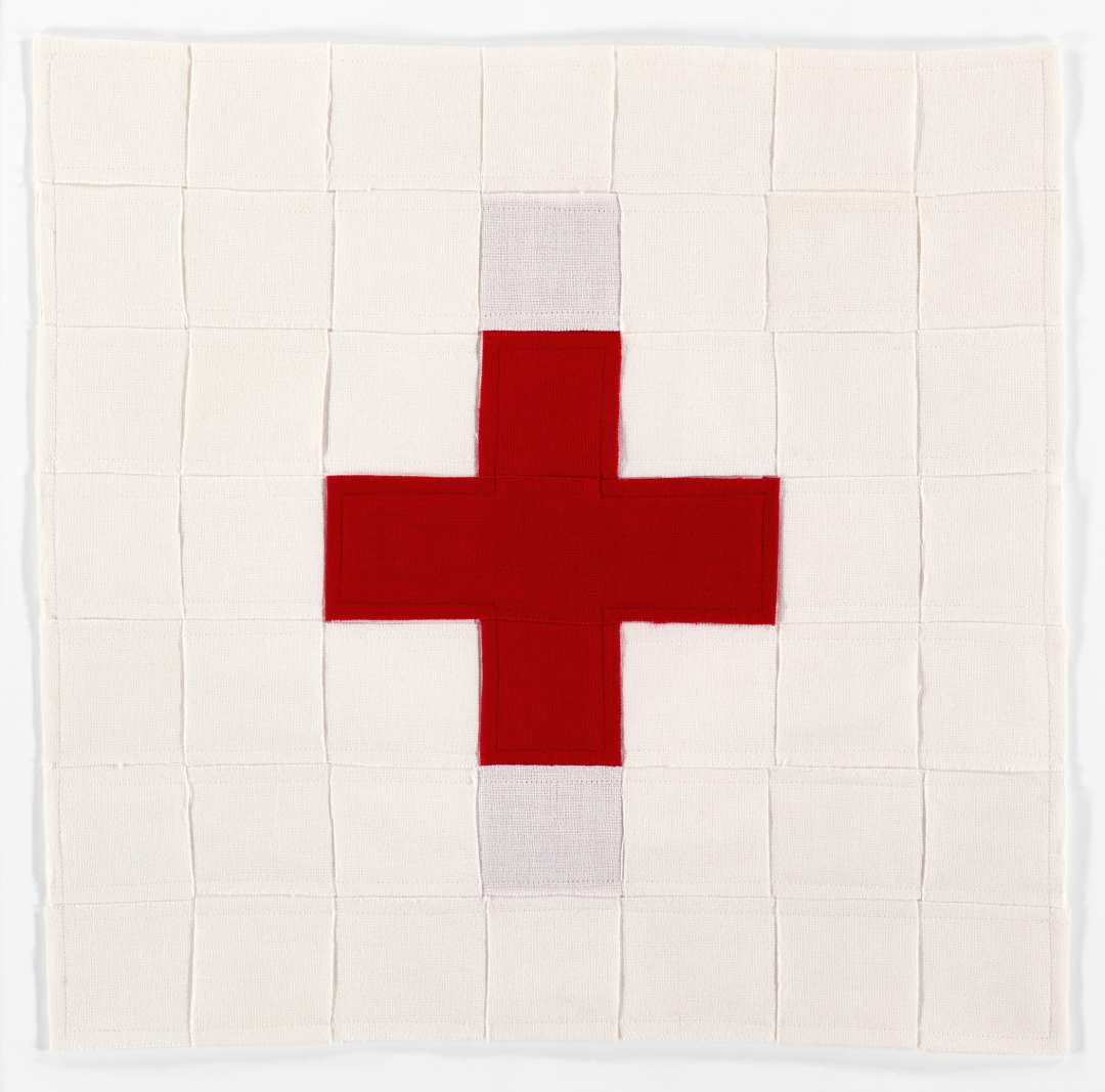hballardmartz_USA First Aid I_17.5 x 17.5_deconstructed and reconstructed US flag