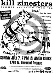 Flyer for Kill Zinesters at Amok Books